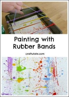 Painting with Rubber Bands – fun process art for kids! Have your kids tried painting with rubber bands? This messy process art activity is a lot of fun! The post Painting with Rubber Bands – fun process art for kids! appeared first on Crafts. Kids Crafts, Preschool Crafts, Process Art Preschool, Preschool Art Projects, Easy Crafts, Preschool Art Lessons, Arts And Crafts For Adults, Preschool Colors, Art Lessons For Kids