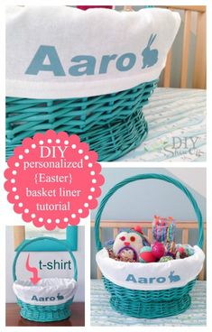 DIY personalized Easter basket liner tutorial {EASY! t-shirt + iron on} @diyshowoff