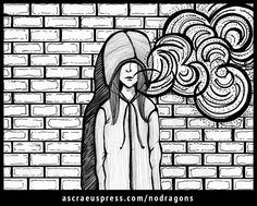 Addie heads off to the loading dock to sneak a quiet smoke—where she finds Nate, doing the same. But the euphoria of finding a smoking buddy quickly fades as Tristan's story, the neighborhood, and Nate himself become even more mysterious. Story by Maggie Gibbs, illustrations by Emily Ruf. (c) 2016 Ascraeus Press.