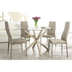Masa cu blat de sticla MAY Crem D114 Dining Chairs, Furniture, Home Decor, Decoration Home, Room Decor, Dining Chair, Home Furniture, Interior Design, Home Interiors