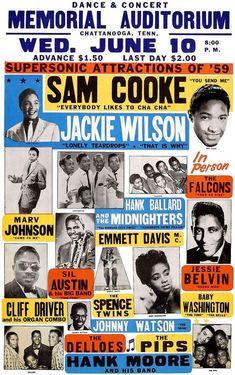 Sam Cooke Jackie Wilson Vintage Soul Music Concert Vintage poster canvas printing wall decor p Vintage Concert Posters, Vintage Posters, Rock N Roll, Dibujos Pin Up, Jazz, Soul Singers, Rock Posters, Music Posters, Band Posters