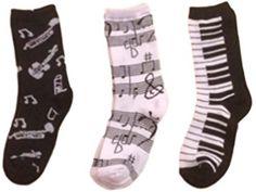 3 Pair Set Adult Crew Socks Musical Note Piano Keys Size 9-11 Stocking Stuffers
