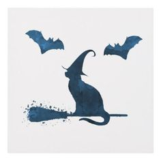 #Scary witch cat panel wall art - #halloween #party #stuff #allhalloween All Hallows' Eve All Saints' Eve #Kids & #Adaults