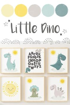 Nursery decor, printable dino poster perfect for your little one's nursery. Includes ABC print Set of 6 cute dinosaur themed nursery prints Nursery Themes, Nursery Prints, Nursery Wall Art, Nursery Decor, Themed Nursery, Nursery Ideas, Bright Nursery, Whimsical Nursery, Dinosaur Nursery