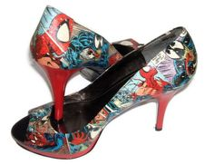 Spiderman vs Venom  Comic Book Red High Heels  by MacklinsMurals, $100.00