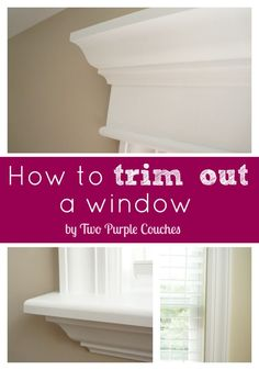 How To: Replace an Interior Window Sill – two purple couches Window trim is a simple DIY home improvement project that makes a big impact. Create a custom, high-end look by installing interior trim and moulding. Interior Window Sill, Interior Windows, Interior Trim, Bedroom Windows, Interior Design, Home Improvement Projects, Home Projects, Home Renovation, Ideas
