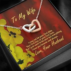 To My Wife Necklace, Husband To Wife, Gift For My Wife, Romantic Wife – Shiny Jewelry Charm Christmas Store, Christmas Shopping, Wife Birthday, Birthday Gifts, First Kiss, First Love, Tarnished Jewelry, Gifts For My Wife, Two Hearts