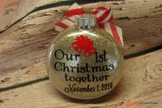 A personal favorite from my Etsy shop https://www.etsy.com/listing/225002055/our-1st-christmas-ornament