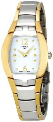 Relógio Tissot Women's T053.310.22.017.00 White Mother-Of-Pearl Dial Femini T Watch #relogio #tissot