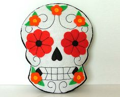 Day of the Dead Pillow Sugar Skull Decoration by TheDollCityRocker, $30.00