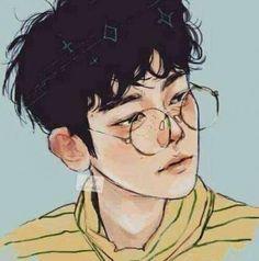Aesthetic cute boy drawing Blue and Yellow main colours Features: Glasses and Freckles Kpop Fanart, Baekhyun Fanart, Pretty Art, Cute Art, Bel Art, Art Mignon, Art Manga, Anime Art, Manga Anime