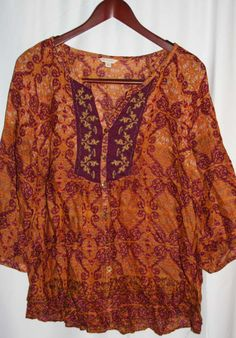 Sonoma Boho Style Blouse Size XL Made in India #Sonoma #Blouse #Casual