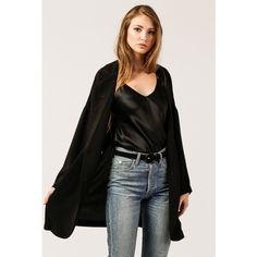 Azalea Double Breast L/S Coat ($61) ❤ liked on Polyvore featuring outerwear, coats, black, blazer jacket, short-sleeve blazers, oversized coats, double breasted coat and double-breasted blazer