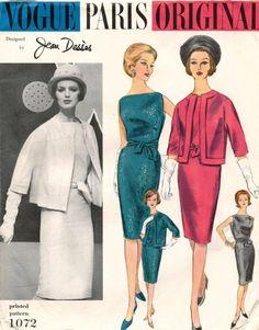 1960's VTG VOGUE PARIS ORIGINAL Dress&Jacket Jean Desses Pattern 1072 14 UNCUT