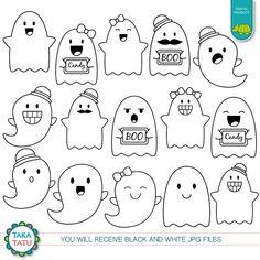 Cute Ghosts Digital Stamp Pack - Cute Ghosts Clipart / Kawaii Ghosts / Ghost Line Art / Cute Halloween / Kawaii Halloween / Cute Party Kawaii Halloween, Halloween Doodle, Halloween Crafts, Cute Halloween Drawings, Cute Monsters Drawings, Kawaii Drawings, Easy Drawings, Kawaii Doodles, Cute Doodles