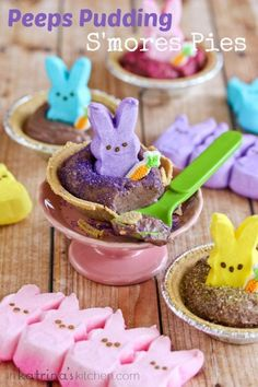 Peeps Pudding Smores Pies - a quick and easy Easter treat