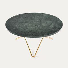 O TABLE - ox denmarq Green marble brass   www.bijdendom.nl