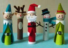 Weihnachtsdeko basteln Toilettenrollen Weihnachtsmann