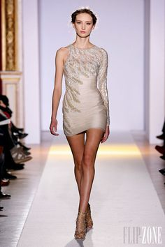 Zuhair Murad - Couture - Official pictures, S/S 2013 - http://en.flip-zone.com/fashion/couture-1/fashion-houses/zuhair-murad-3366 - Short asymmetrical dress in draped silk tulle and plumage of mother-of-pearl and old gold.