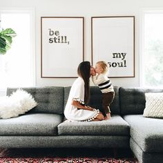 Red Wall Decor for Living Rooms Fresh Love the Rug Couch Wall Art Bo In This Family Room My Living Room, Home And Living, Living Room No Fireplace, Living Room Decor Simple, Modern Living, Dark Grey Sofa Living Room Ideas, Living Room Wall Art, Brown Carpet Living Room, Living Room Quotes
