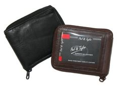 Zip Around Genuine Leather Wallet, external & internal ID windows, 12 credit card slots. Bi-fold design with 3 receipt slots, 1 key holder, and plastic window insert for photos. Smartly designed wallet features a full length bill compartment with leather divider. Available in Black and Brown. Measures 4-1/2 inches across x 3-1/4 inches high (closed).