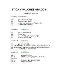CARTILLA ETICA Y VALORES 5º