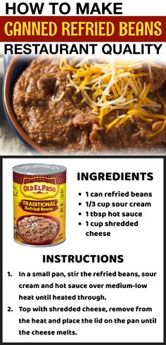 Mexican Dishes, Mexican Food Recipes, Mexican Meals, Canning Refried Beans, Cooking Tips, Cooking Recipes, Good Food, Yummy Food, Bean Recipes