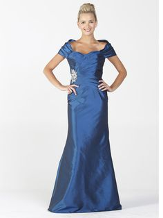 Elegant full length Taffeta gown, with pleated bodice and removable sleeves. Waist embellished with beautiful rhinestones. Center back zip closure.