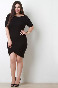 Ribbed Knit Elbow Sleeve Off-The-Shoulder Tulip Dress