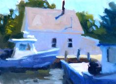 """A quick little 6x8 of a couple fishing boats. I had fun with the value and temperature relationships in the building. """"Toward Shore"""""""