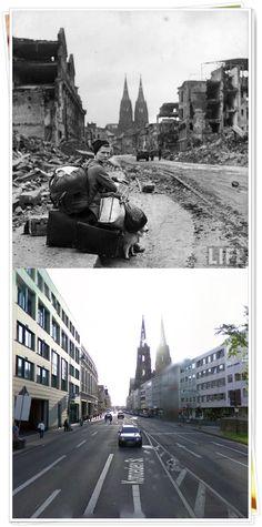 Donna tedesca con tutti i suoi averi sul lato di una strada in mezzo alle rovine di Colonia, in #Germania1945