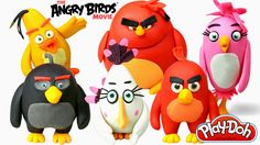 Play Doh Chuck, Red, Bomb, Terence, Matilda, Stella in The Angry Birds M...