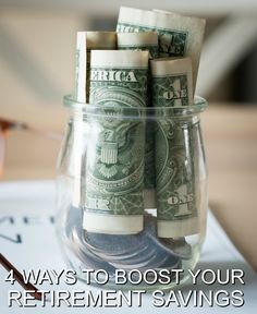 4 Ways to Boost Your Retirement Savings on a Budget. Easy frugal money tips for any stage in your life. Retirement Advice, Retirement Savings, Retirement Age, Saving For Retirement, Retirement Planning, Ways To Save Money, Money Saving Tips, How To Make Money, Money Tips