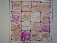 Sight word/ decoding practice.  Give each child a different color crayon.  They may take turns drawing lines.  When a box is completed, they read the word.  If they read it correctly, they may color the box.  Also used for math facts--Mrs. T's First Grade Class: Language Arts