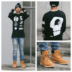 Men in Timberland boots