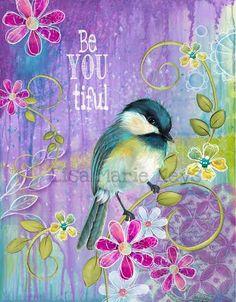 Be-You-Itful Bird Wall Art Teen Girl Bird by WallFlowerArtShop Tween Girls Room, Teen Wall Decor, Purple Pink Turquoise, Bird Decor, Bird with Flowers