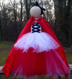 Little Red Riding Hood Costume with matching Headband and Hooded Cape  on Etsy, $75.00
