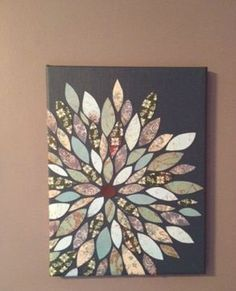 DIY Wall Canvas with scrapbook paper. Wow this gorgeous! And what a great way to use up scrap scrapbook paper :o) Diy Projects To Try, Crafts To Do, Home Crafts, Arts And Crafts, Teen Art Projects, Craft Projects, Auction Projects, Stick Crafts, Auction Ideas