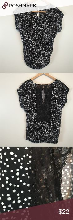 Black white polka dot Short sleeve with ruching with slit lace inset @ back Maurices Tops Blouses