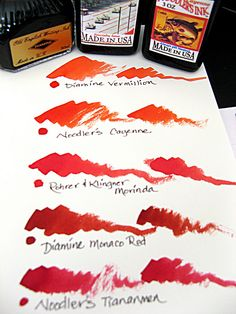 Red Inks with Bottles  ♥ Rohrer & Klingner Morinda and Noodler's Tiananmen