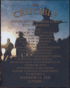Plaque you receive for becoming a Marine; Completing the Crucible.