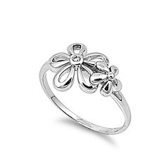 925 Sterling Silver CZ Flower Ring 11MM