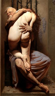 Roberto Ferri (born is an Italian artist and painter from Taranto, Italy, who is deeply inspired by Baroque painters (Caravaggio in particular) and other old masters of Romanticism, the Academy, and Symbolism. Caravaggio, Figure Painting, Painting & Drawing, Italian Artist, Art Graphique, Old Master, Oeuvre D'art, Erotic Art, Figurative Art
