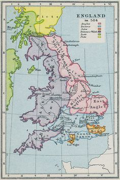 ETHNIC COMPOSITION OF BRITAIN IN 584AD: map showing Cornwall in the period it was called by the Saxons as West Wales     ✫ღ⊰n