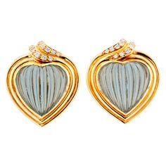 Carrera Y Carrera Aquamarine Diamond Gold Earrings | From a unique collection of vintage clip-on earrings at https://www.1stdibs.com/jewelry/earrings/clip-on-earrings/