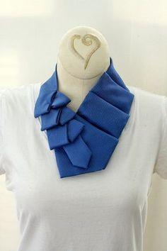 Women's Collar, Scarf, Ascot, Cobalt Blue, Recycled Necktie. 11