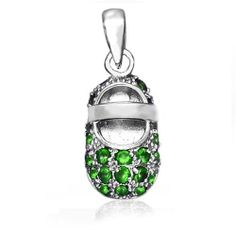 Bling Jewelry 925 Silver Baby Shoe Charm Pendant May Birthstone Emerald Color CZ Bling Jewelry. $32.99. Weighs 2 grams. Green emerald color CZ. Rhodium plated sterling silver. Baby shoe charm pendant. Chain is not included. Save 65% Off!