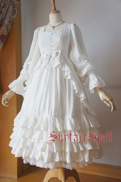 Surface Spell Nymph High Waist Lantern Sleeves Gorgeous Gothic Lolita Dresses 5 Colors