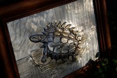 Metal wall art turtle with spines by JJgaliciaMetalRelief on Etsy, $40.00