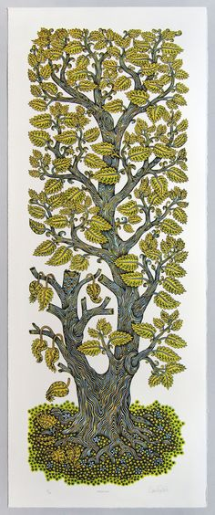 A Tall Leafy Tree Grows in Tugboat Printshop's New Wood Block Print Colossal Art, Borders For Paper, Tug Boats, Growing Tree, Hand Illustration, Woodblock Print, Cool Art, Drawings, Block Prints